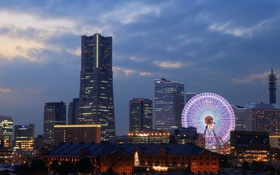 Картинка облака, здания, колесо обозрения, вечер, огни, Япония, небо