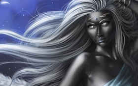 Обои арт, эльфийка, браслеты, белые волосы, дроу, темнокожая