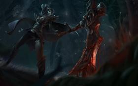 Картинка dota 2, топор, девушка, кровь, phantom assassin