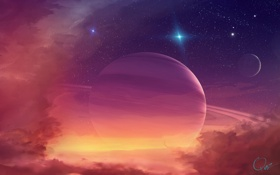 Картинка космос, звёзды, Планеты