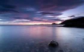 Картинка закат, камни, пейзаж, море