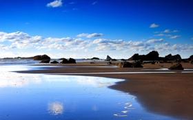 Картинка песок, море, камни, берег, Морской пейзаж