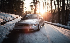 Картинка лес, снег, закат, Audi, ауди, stance, догога