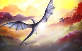 Обои облака, драконы, полёт
