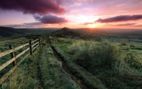 Картинка закат, пейзаж, дорога, природа, поле, забор