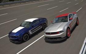 Обои синий, скорость, Mustang, Ford, мустанг, серебристый, Boss 302