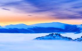 Обои закат, пейзаж, небо