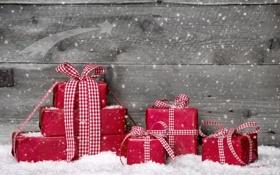 Обои зима, снег, ленты, подарки, красные, Christmas, праздники