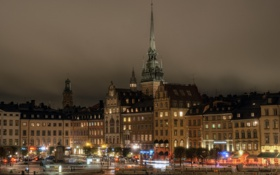Обои фото, Дома, Ночь, Город, Фонари, Швеция, Stockholm