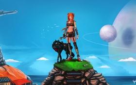 Обои девушка, планеты, собака, арт, рыжая, гаечный ключ