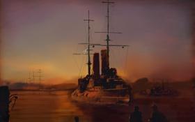 Картинка море, живопись, броненосец, Русский, эскадренный, «Цесаревич»