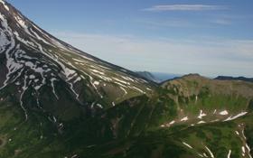 Картинка небо, трава, снег, горы, фото, склон, Камчатка