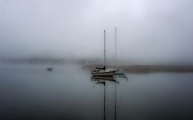 Картинка пейзаж, туман, озеро, лодки