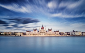 Обои небо, вода, город, выдержка, Парламент, Венгрия, Будапешт