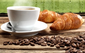 Обои coffee, кофе, croissants, круассаны, кофейные зерна, coffee beans