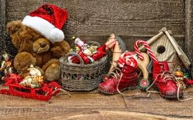 Обои звезды, снег, игрушки, сапоги, леденец, new year, hat