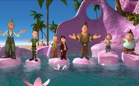 Обои море, мультфильм, гномы, лотосы, приключение, камешки, 7-ой гном