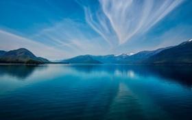 Обои небо, облака, снег, горы, озеро, отражение, синие