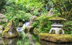 Обои деревья, пейзаж, природа, камни, водопад, домик, кустарники