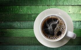 Обои кофе, чашка, зеленый фон, блюдце