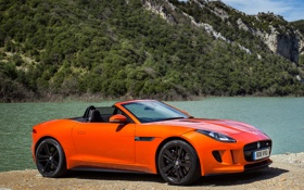 Обои car, Jaguar, wallpapers, orange, F-Type, V8 S