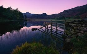 Обои закат, озеро