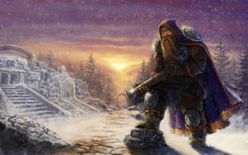 Обои зима, гном, пушка