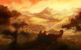 Обои дорога, пейзаж, река, лошадь, дома, деревня, арт