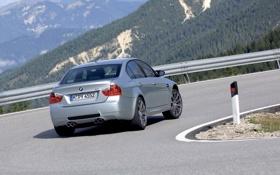 Обои Авто, Дорога, поворот, BMW, Машина, Бумер, Серый