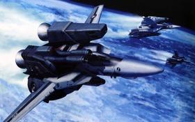 Картинка космос, полет, Macross, valkyrie