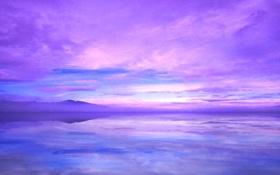 Обои небо, облака, закат, горы, озеро, отражение
