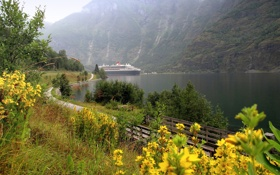 Картинка дорожка, тропинка, залив, фьорд, природа, мостик, горы