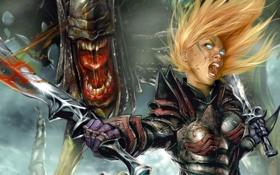 Картинка глаза, девушка, оружие, кровь, монстр, меч, арт