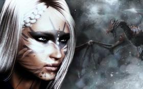 Обои зима, девушка, снег, дракон, игра, белые волосы, skyrim
