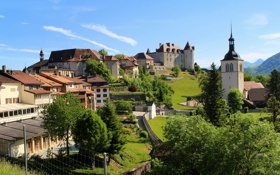 Обои дома, Швейцария, Switzerland, houses, горы., Gruyere, Fribourg