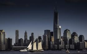 Обои город, океан, вид, корабли, Нью-Йорк, небоскребы, панорама