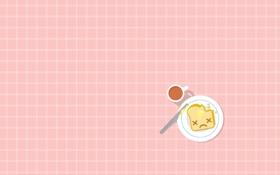 Обои масло, хлеб, нож, чашка, тост