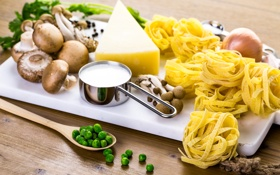 Обои грибы, сыр, горох, mushrooms, cheese, макароны, pasta