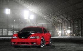 Картинка красный, Mustang, Ford, мустанг, ангар, red, форд