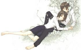 Картинка листва, Девушка, парень, двое, лежат