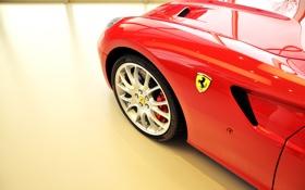 Обои авто, красный, колесо, суперкар, диск, феррари, Ferrari 599