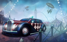 Обои машина, город, цирк, аттракцион, велосипед