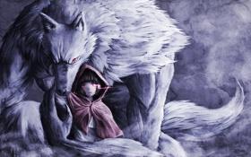 Обои волк, красная шапочка, арт, девочка, плащ, красные глаза, namacotan