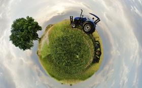 Обои небо, земля, трактор