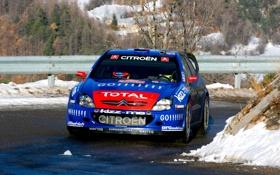 Обои Зима, Авто, Синий, Спорт, Citroen, Фары, WRC
