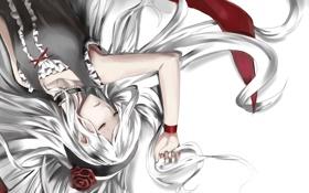 Картинка роза, Девушка, спит, лежит, красная лента, ободок