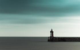 Картинка небо, ла-манш, маяк, гладь, тучи, море
