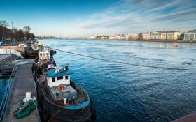 Обои река, порт, Russia, набережная, питер, санкт-петербург, нева