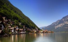Картинка лес, небо, вода, горы, город, дома, Австрия