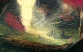 Обои деревья, природа, фантастика, скалы, арт, ущелье, тропинка